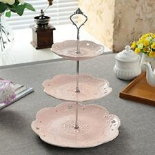 3 tier Ceramic Cake Stand Pink Silver Cupcake Stand Tower Food Dessert Stand NEW