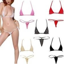 Sexy Women Swimwear Halter Micro Bra Top G-string Underwear Bikini Swim Bottoms