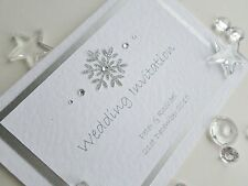 Personalised Christmas / Winter Silver Snowflake Wedding Invitations