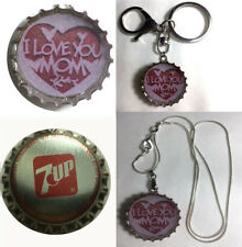 Old 7Up Soda bottle cap I Love you MOM Keychain Pendant 925 silver necklace