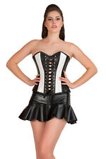 Black & White Faux Leather Gothic Steampunk Overbust Top Tutu Skirt Corset Dress