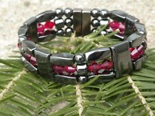 Men's Women's Magnetic Hematite Bracelet Anklet Necklace w Ruby Swarovski 3 Row