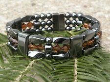 Mens Womens Magnetic Hematite Bracelet Anklet Necklace w Smokey Topez Swarovski