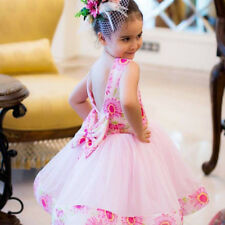 Baby Girl Flowers Printed Bowknot Sleeveless Veil Dress Party Outfits Showy