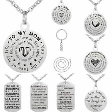 Key Chain Dog Tag Pendant Necklace Women/Men Stainless Steel Mother's Day Gift