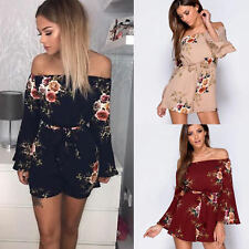 AU Summer Womens Off Shoulder Holiday Mini Playsuits Jumpsuit Beach Floral Dress