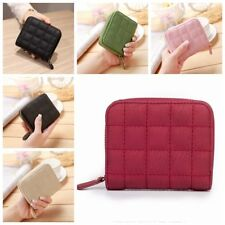 Women Cute Short PU Leather Wallets Plaid Card Holder Small Zipper Coin Purse