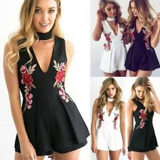 Ladies Womens Holiday Mini Playsuit Jumpsuit Romper Summer Floral Beach Dress AU