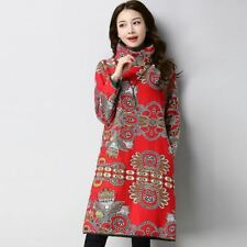 Women Winter Vintage Style Winter Wear Long Sleeve Floral Printed Dress N402