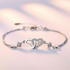 New Design Heart Shaped Silver Plated Bracelet for Girl Valentine's Day Special