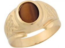 10k or 14k Yellow Gold Synthetic Tigers Eye Checker Board Style Mens Ring
