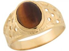 10k or 14k Yellow Gold Synthetic Tigers Eye Large Checker Board Mens Ring