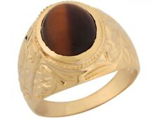10k or 14k Yellow Gold Synthetic Tigers Eye Leaf Designer Band Mens Ring