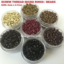 4mm Micro Link Ring Beads Crimp Screw Thread Feather Hair I-Tip Hair Extensions
