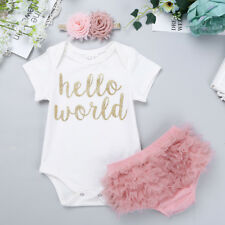 3Pcs Newborn Infant Baby Girl Clothes Romper Jumpsuit Bodysuit+Pants Outfits Set