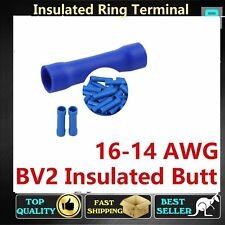 Blue Insulated Butt Joiners Electrical Auto Crimp Cable Wire Terminals Splices
