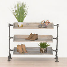 Industrial Pipe and Wood Shoe Rack | Shoe Organizer | Entryway Shoe Storage