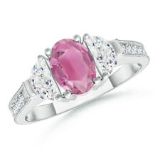 Oval Natural Pink Tourmaline Diamond Three Stone Ring 14K White Gold