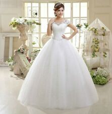 Elegant Ball Gown Wedding Dress Formal Tulle Lace Up Crystal Bridal Gowns S-2XL