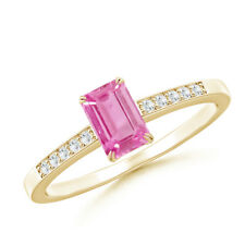 Emerald Cut Pink Sapphire Cocktail Ring with Diamond Accent 14K Yellow Gold