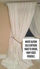 WHITE DUPION SILK, THERMAL INTERLINED MTM CURTAINS 5-15FT WIDE MADE 2 ORDER BAY