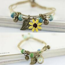 Handmade Vintage Ceramic Flower Leaves Knit Bracelet Bangle Women Jewelry Gift
