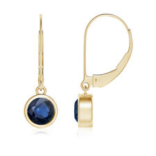 Round Natural Blue Sapphire Drop Earrings Leverback 14k Yellow Gold/Platinum