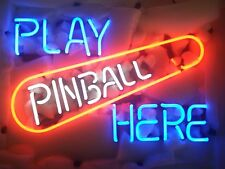 New Play Pinball Here Game Room Real Glass Handmade Neon Sign 17