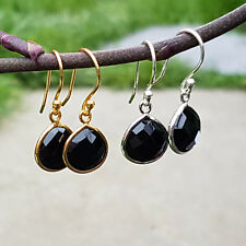 Sterling Silver 18K Gold Vermeil Faceted Black Onyx  Drop Dangle Earrings Gift