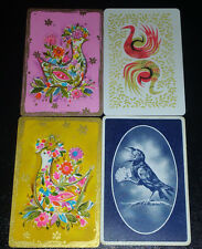 BIRDS - 4 single Vintage Swap Playing Cards Very Old 1930s-1950s