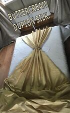 CREAM DUPION SILK, THERMAL INTERLINED MTM CURTAINS. 5FT-15FT WIDE BAY MADE ORDER