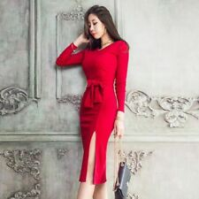 Winter Long Sleeve O-neck Red Black Color Vintage Style Mini Pencil Dress