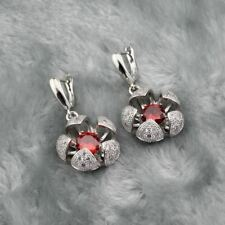 Women Red Color Zircon Stone Necklace Pendant Earring Jewelry Set