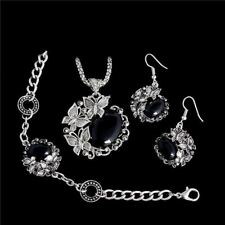 Women Classic Zinc Alloy Stone Silver Plated Necklace Jewelry Set