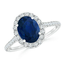 1.6ct Oval Natural Blue Sapphire Diamond Halo Engagement Ring Gold/ Platinum