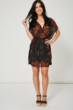 Ladies Black Belted Dress With Floral Print - Womens Sheer Casual Dress