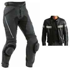 Black Motorcycle Sports Leather Suit Motorbike Racing Leather Biker Jacket Pant