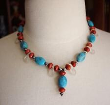 Handmade Tribal Native American Indian Penobscot Turquoise Beads Necklace