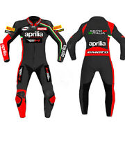 APRILIA MEN White Motorbike Leather Suit Motorcycle Leather Suit Racing suit