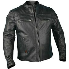 Mens LEATHER RACER Jacket Motorcycle Biker Scooter Vented Zip Out Liner Piping