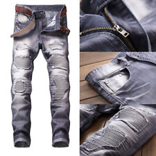 Cool Men Ripped Skinny Jeans Destroyed Frayed Slim Fit Moto Denim Pants Trousers