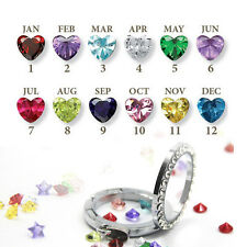 Hot 10pcs Birthstones Floating Charms Crystal For Living Memory Locket Necklace
