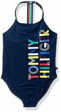 Tommy Hilfiger Girls' One-Piece Logo Halter Navy Blue Swimsuit NWT FREE SHIPPING