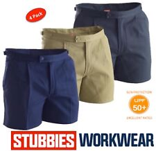 """PACK OF 4  STUBBIES MENS DRILL """"UTILITY"""" TAB SIDE REINFORCED WORK SHORTS BB5513"""
