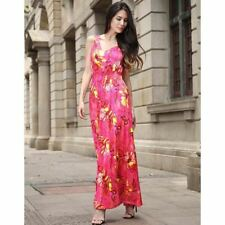 Women Summer Wear V Neck Floral Print Sleeveless Maxi Long Sundress