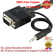 High Speed 15 pin Super VGA SVGA TV Monitor Cable with 3.5mm Audio Stereo