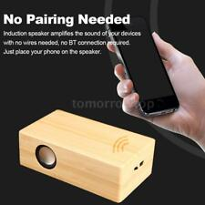 Mini Wireless Wooden Induction Stereo Speaker Amplifies For Smartphones PC W1G7