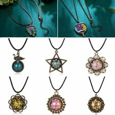 Handmade Real Dried Flowers Glass Round Ball Pendant Necklace Jewelry Gift New