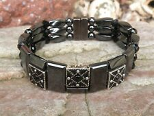 Men's Women's Magnetic Bracelet Anklet SUPER STRONG Clasp Black Crystal 3 row