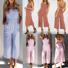 Womens Striped Playsuit Long Jumpsuit Strappy Wide Leg Pants Culottes Romper New